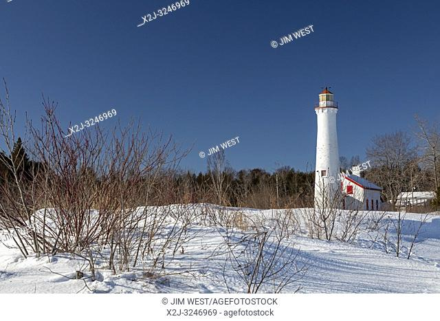 Harrisville, Michigan - The Sturgeon Point Lighthouse, built in 1869. It warns mariners of the Sturgeon Point reef, which extends a mile and a half into Lake...