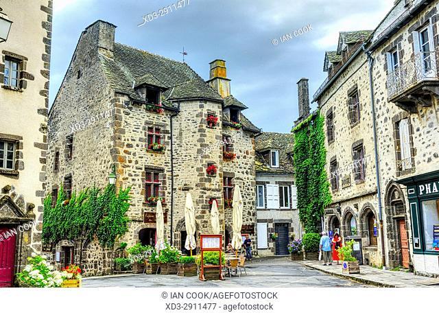 street scene, Salers, Cantal Department, Auvergne, France