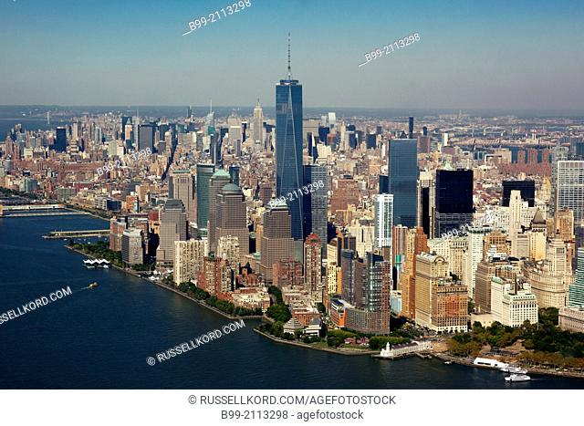 Aerial Statue Of Liberty Downtown Skyline New York Harbor New York City Usa
