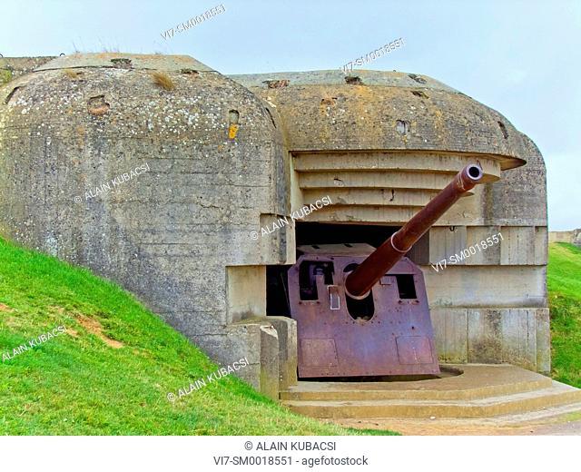 Longues-sur-Mer's German Guns, World War II Normandy landing, Calvados, Normandie, France