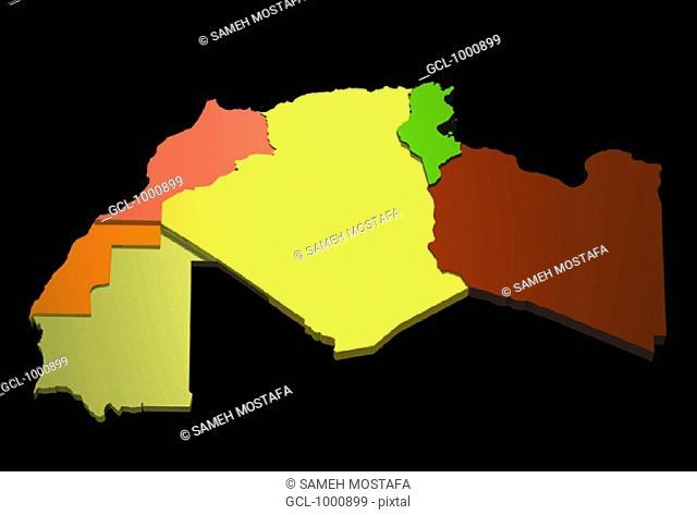 map of Mauritania, Western Sahara, Morocco, Algeria, Tunisia, Libya