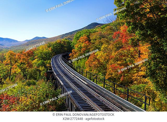 Crawford Notch State Park - Frankenstein Trestle along the old Maine Central Railroad in the Hart's Location, New Hampshire USA during the autumn months