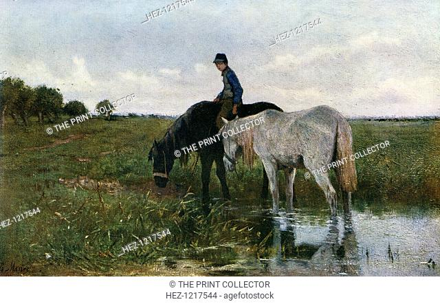 'Watering Horses', 1871, (1912). A colour print from Famous Paintings, with an introduction by Gilbert Chesterton, Cassell and Company, (London, New York