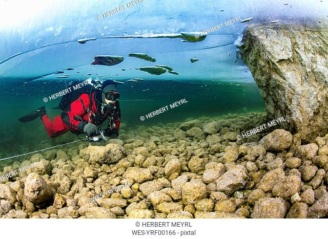 Austria, Styria, Lake Grundlsee, scuba diver under ice floe