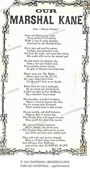 """Broadside from the American Civil War, entitled """"""""Our Marshal Kane, """""""" expressing disdain for leadership in Baltimore while praising police marshal George..."""