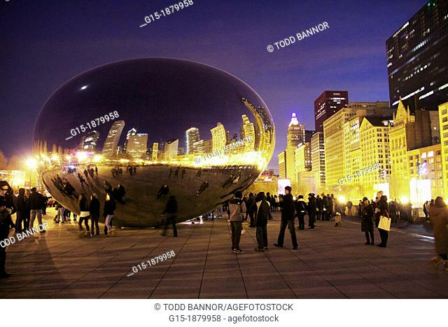 Cloud Gate by Anish Kapoor at twilight  Millennium Park Chicago Illinois