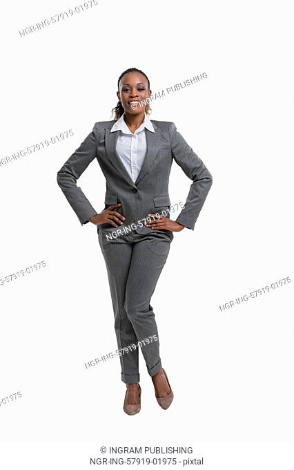 Positive african business woman portrait, isolated on white background