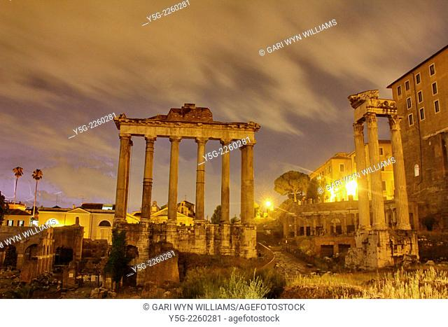 Rome, Italy 10th September 2014 - Thunderstorm over the Roman Forum in Rome Italy