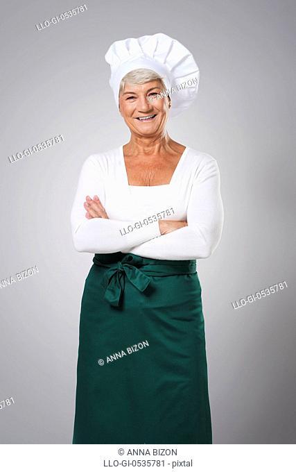 Portrait of experienced female chef. Debica, Poland