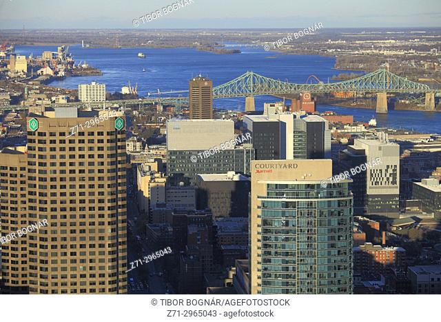 Canada, Quebec, Montreal, skyline, St Lawrence River, Jacques Cartier Bridge,