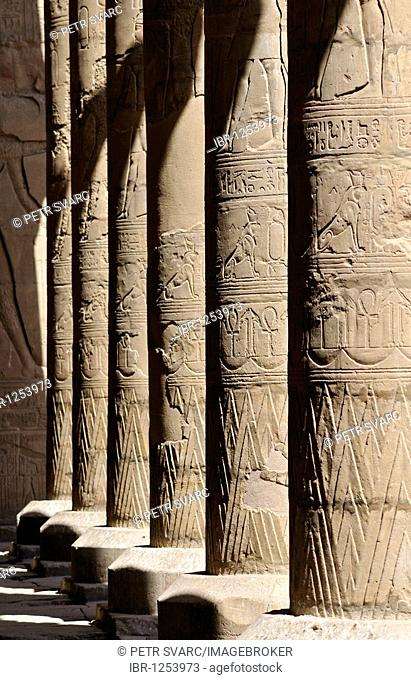Columns in Court of Offerings at Ptolemaic cult temple of Horus in Edfu, Egypt, North Africa