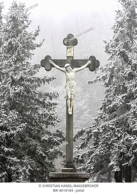 Great cross at cemetery, Berndorf, Lower Austria, Austria