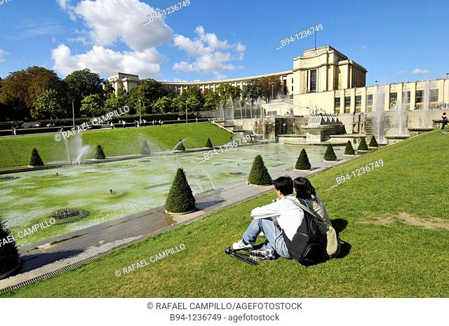 Gardens of the Trocadero and Chaillot Palace, Paris, France