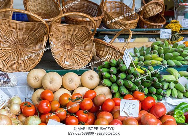 Fresh exotic fruits in Mercado Dos Lavradores.Madeira Island, Portugal