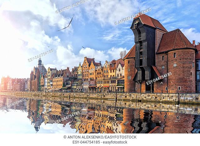 Zuraw Crane in Gdansk, view from the Motlawa