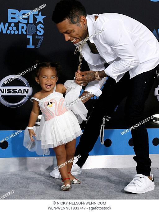 2017 BET Awards held at the Microsoft Theater - Arrivals Featuring: Aislin Parvaneh Collins, Kid Ink Where: Los Angeles, California