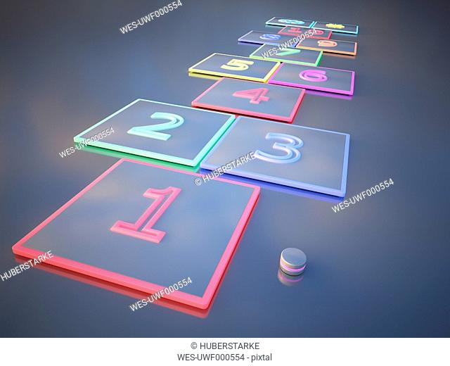 Hopscotch and a pebble, 3D Rendering