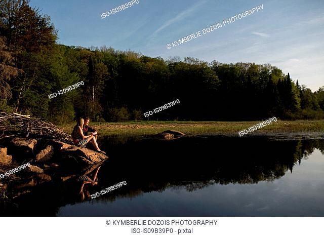 Couple enjoying lake, Ottawa, Ontario