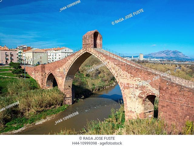 Spain, Catalonia, Barcelona Province, Martorell City, Devil's Bridge, roman built