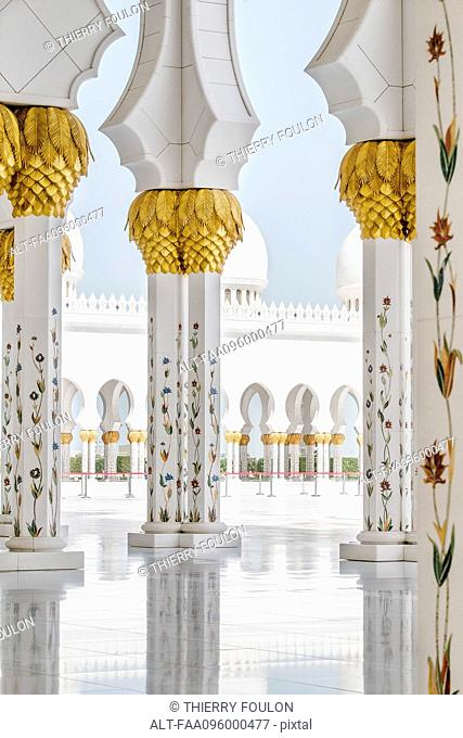 Ornate columns, Sheikh Zayed Mosque, Abu Dhabi, United Arab Emirates