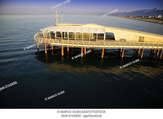 View on the Lido di Camaiore jetty Versilia Tuscany Italy
