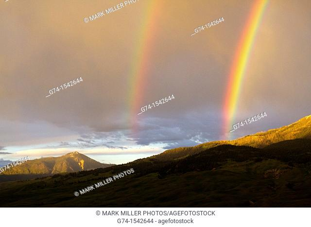 Double Rainbow in Montana overlooking Yellowstone National Park USA