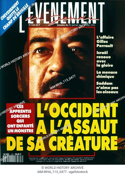 Front Page of the French publication 'L'Evenement' reporting that the West is in an assault against Saddam Hussein in the Gulf War; February 1991