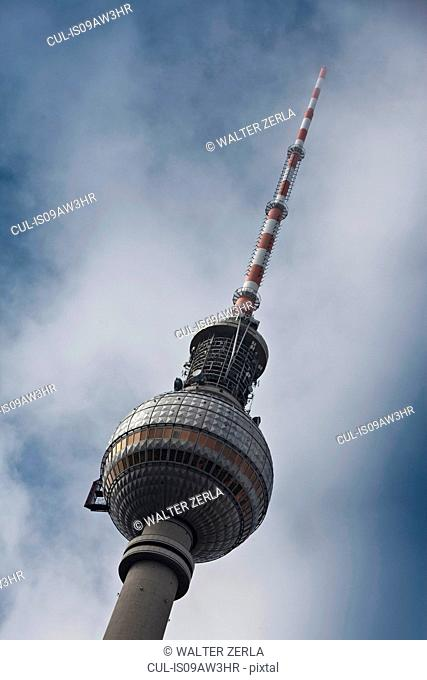 The Fernsehturm (television tower) against blue sky, Berlin, Germany