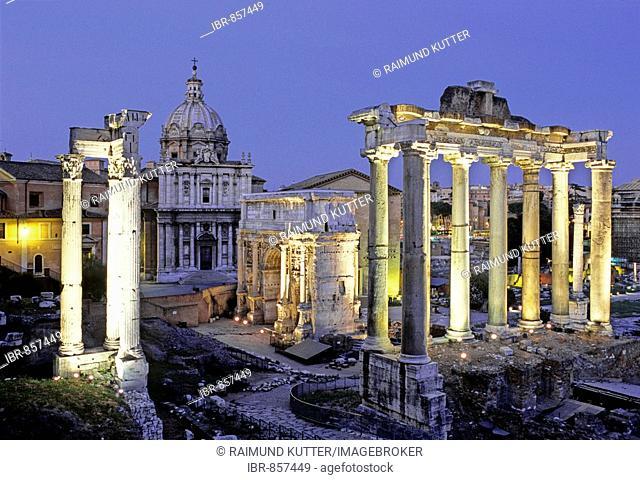 Temple of Vespasiam, Santi Luca e Martina, Arch of Septimius Severus, Temple of Saturn, Roman Forum, Rome, Latium, Italy, Europe