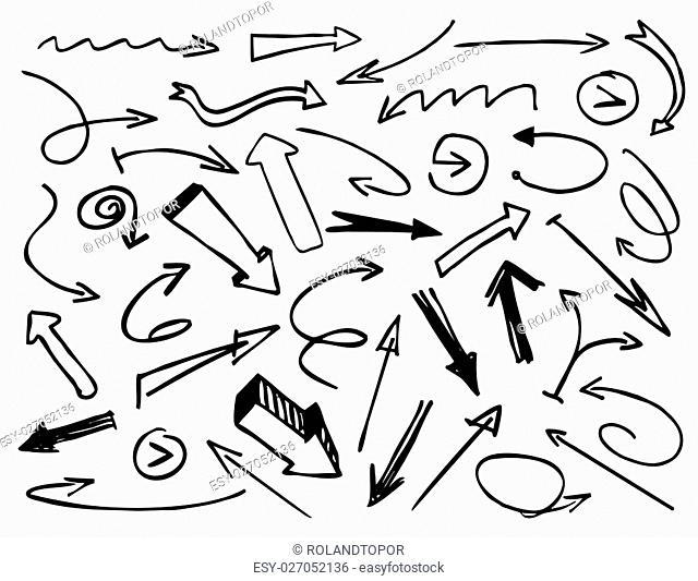 Black Drawn Arrows. Vector Illustration