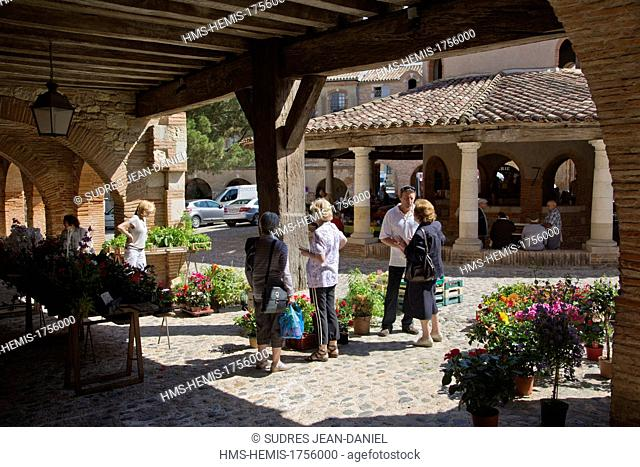 France, Tarn et Garonne, Auvillar labelled Les Plus Beaux Villages de France (The Most Beautiful Villages of France), Market Day and the circular hall of...