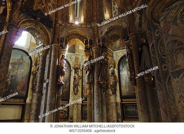 PORTUGAL Tomar -- 2015 -- The interior of the Charola in the church inside the Convento de Cristo - the one-time headquarters of the Knights Templar in Tomar...