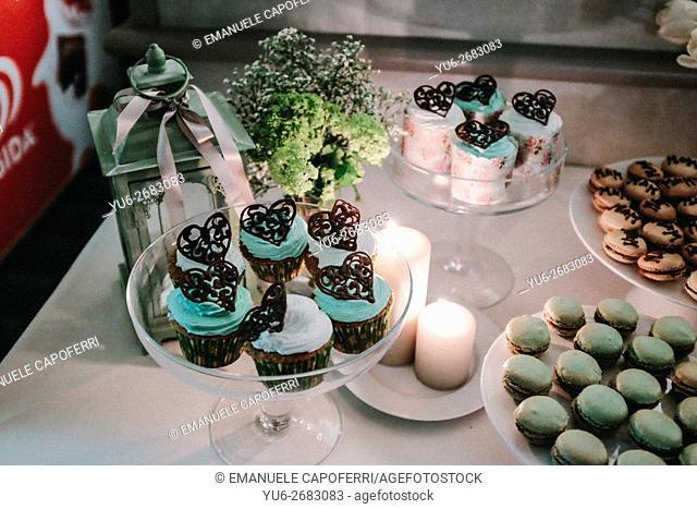 Various cakes made for dessert the bridal dinner
