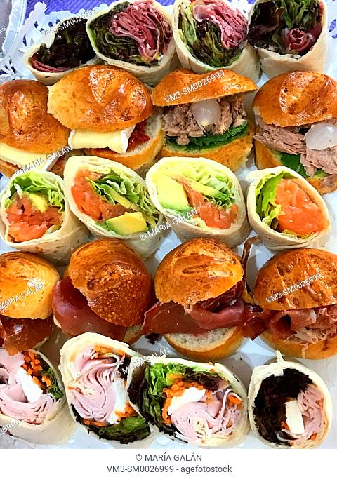 Assorted sandwiches. View from above
