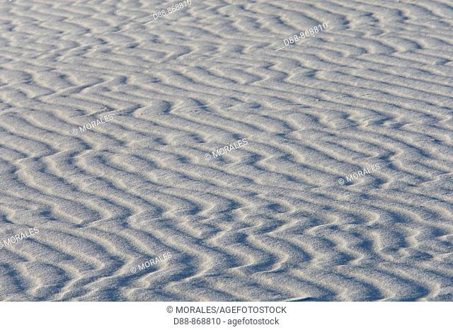 Sand pattern. White Sands in the Tularosa Basin. White Sands National Monument, New Mexico, USA. The glistening dunes of White Sands in the Tularosa Basin are...