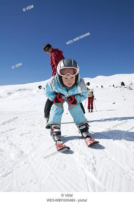 Austria, Tirol, Family skiing