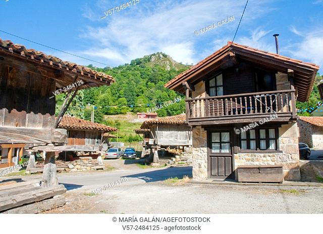 Facade of house. Espinaredo, Asturias, Spain