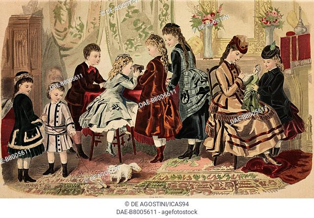 Different styles and colours of childrens' clothes, Magasins du Louvre models, Paris, France, coloured engraving from La Mode Illustree, No 50, December 12