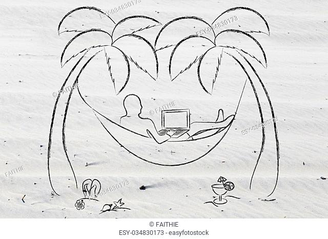 working online: businessman using his laptop lying on a hammock