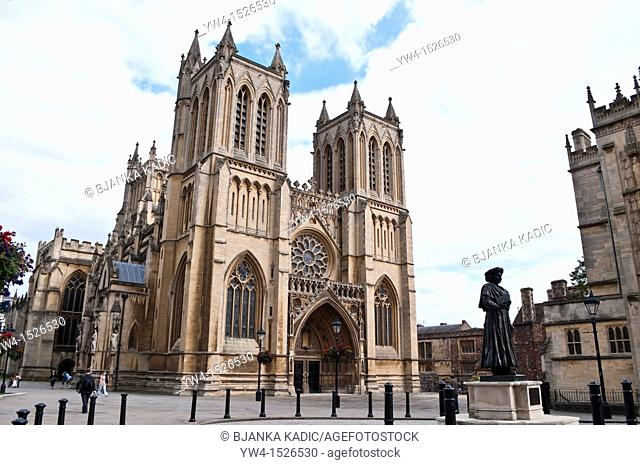 Bristol Cathedral and Statue of Raja Rammohun Roy at College Green, Bristol, England, United Kingdom