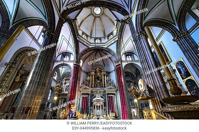 Templo de San Felipe Neri Basilica Dome Church Mexico City Mexico. Catholic church created in 1500s by Jesuits