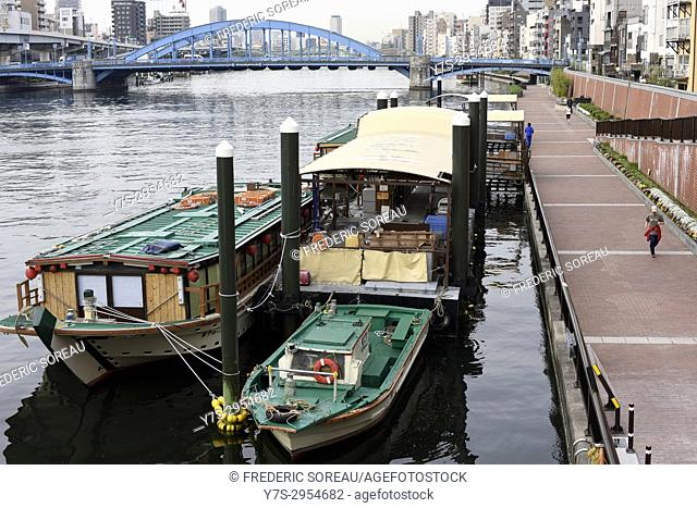 Boats on the Sumida River in Asakusa district of Tokyo, Japan, Asia