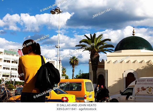 Africa, Tunisia, Sousse, Place Farhat Hached, Central Square, Traffic, Young Woman in Yellow