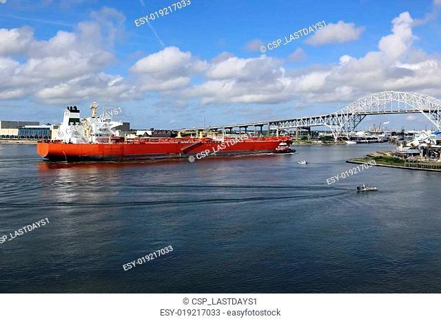 Oil Tanker Ship Entering Corpus Christi Texas Port
