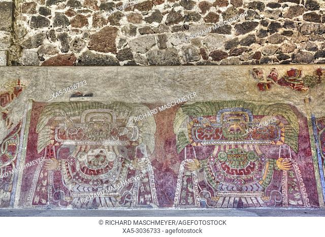 Wall Mural of the Jade Goddess (or Thaloc), Palace of Tetitla, Teotihuacan Archaeological Zone, State of Mexico, Mexico