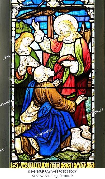 Church of Saint Mary, Dallinghoo, Suffolk, England, UK stained glass window, John Chapter 21 Verse 15 Jesus Reinstates Peter