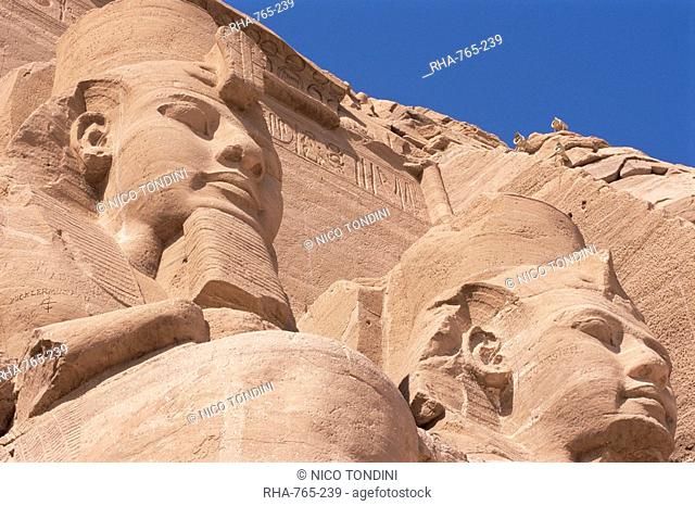 Statues of Ramses II Ramses the Great outside his temple, Abu Simbel, UNESCO World Heritage Site, Nubia, Egypt, North Africa, Africa
