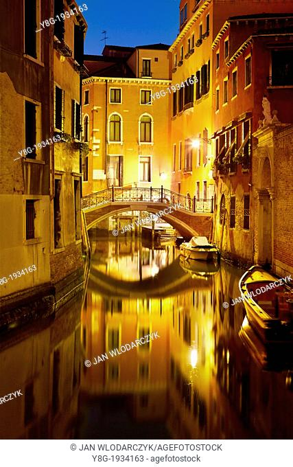 Venice by night - water street of Venice, pathbridge over the canal, Venice, Italy, UNESCO