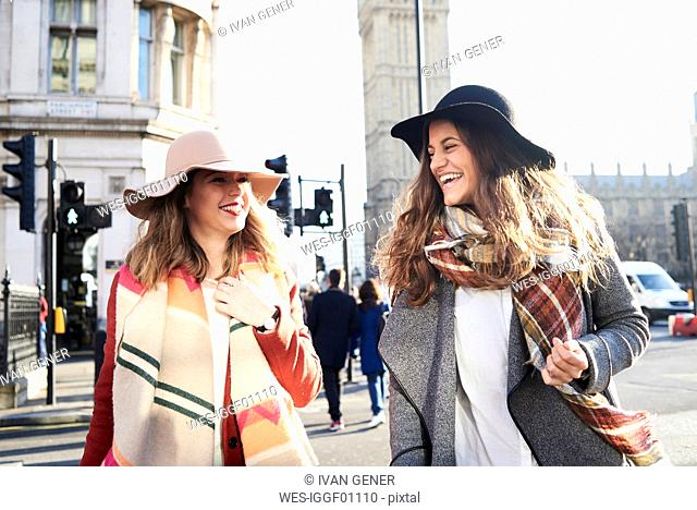 UK, London, two happy women in the city near Big Ben