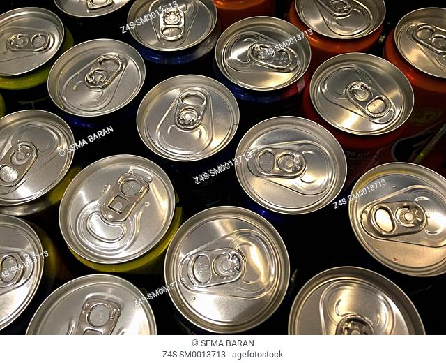 Close-Up juice cans view from above